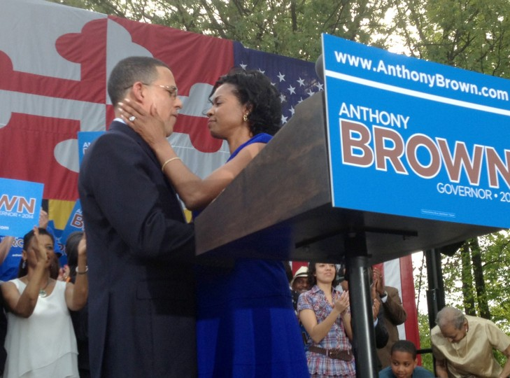 5/10/13: Maryland Lt. Governor Anthony Brown is hugged by his wife Karmen Walker Brown after he announced his candidacy for governor in Largo. (Michael Dresser/Baltimore Sun)