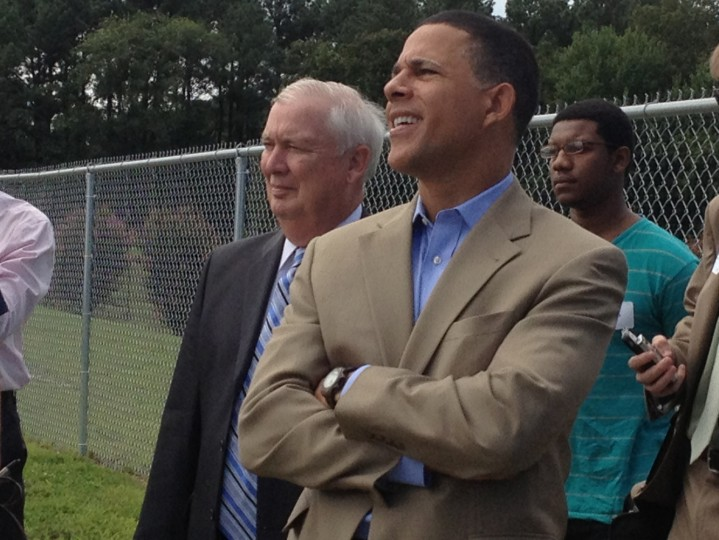 8/14/2013: Lt. Gov. Anthony Brown, a Democratic candidate for governor, listens to a presentation in Salisbury about Perdue Farm's solar panel project Wednesday with Harford County Executive David Craig, a Republican who was also running for governor. (Erin Cox/Baltimore Sun)