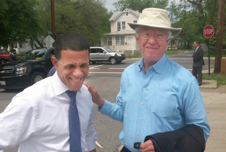 5/12/14 : Lt. Gov. Anthony Brown is photographed with former Gov. Parris Glendening in Maryland. (Michael Dresser/Baltimore Sun)