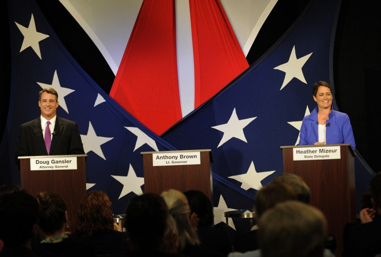 5/27/14: Gubernatorial candidates Attorney General Doug Gansler and State Delegate Heather Mizeur debate each other across an empty podium for Lieutenant Governor Anthony Brown at WBFF Fox 45. (Algerina Perna/Baltimore Sun