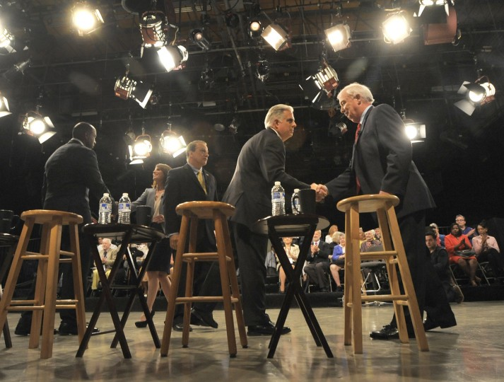 6/2/14- David Craig (R) and Larry Hogan (L) shake hands after their debate. Republicans running for Governor of Maryland debate at MPT studios in Owings MIlls. (Lloyd Fox/Baltimore Sun)