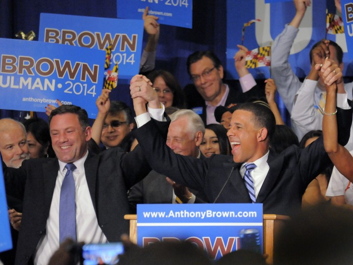 6/24/2014: Ken Ulman and Anthony Brown hold their arms in jubilance during the Brown-Ulman election party at University of Maryland Tue., June 24, 2014. The Lt. Governor captured the Democratic nomination, defeating Doug Gansler and Heather Mizeur. (Karl Merton Ferron/Baltimore Sun)