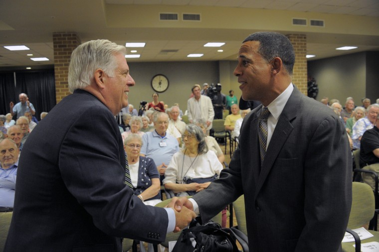 8/19/2014: GOP candidate Larry Hogan (left) shakes hands with Lt. Gov. Anthony Brown before a gubernatorial candidate's forum at Charlestown Retirement community Tuesday, Aug 19, 2014. (Karl Merton Ferron/Baltimore Sun)