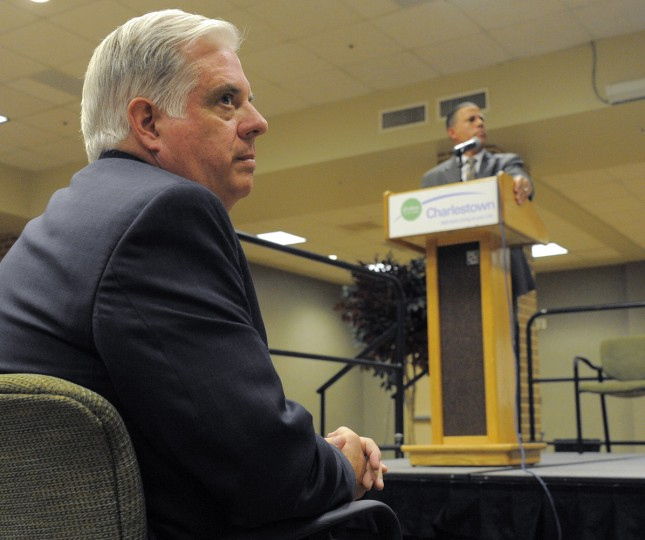 8/19/2014: GOP candidate Larry Hogan waits as Lt. Gov. Anthony Brown has the stage during a gubernatorial candidate's forum at Charlestown Retirement community Tuesday, Aug 19, 2014. (Karl Merton Ferron/Baltimore Sun)