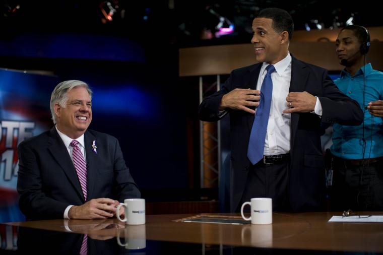 10/13/2014: Maryland Gubernatorial candidates Larry Hogan and Maryland Lt. Gov. Anthony Brown prepare before the Maryland Gubernatorial debate at News Channel 8 in Arlington, Virginia October 13, 2014. (Photo by Melina Mara/The Washington Post)
