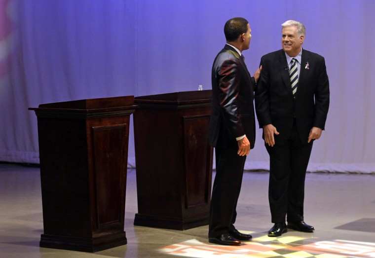 10/18/2014: Maryland Democratic gubernatorial candidate, Lt. Gov. Anthony Brown, left, and Republican candidate Larry Hogan chat after a debate at Maryland Public Television's studios in Owings Mills, Md., Saturday, Oct. 18, 2014. (AP Photo/Patrick Semansky, Pool)