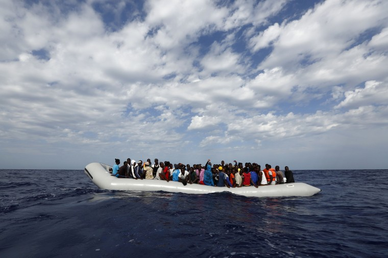 A rubber dinghy with 104 sub-Saharan Africans on board waiting to be rescued by the NGO Migrant Offshore Aid Station (MOAS) is seen some 25 miles off the Libyan coast in this handout photo provided by MOAS. MOAS, a privately-funded humanitarian initiative, began operating at the end of August and has assisted in the rescue of some 2,200 migrants crossing from Libyan shores towards Europe. (Darrin Zammit Lupi/Handout via Reuters)