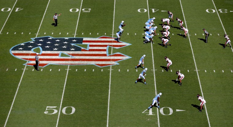 A general view of the Virginia Tech Hokies versus North Carolina Tar Heels on Military Appreciation Day during their game at Kenan Stadium in Chapel Hill, North Carolina. (Streeter Lecka/Getty Images)