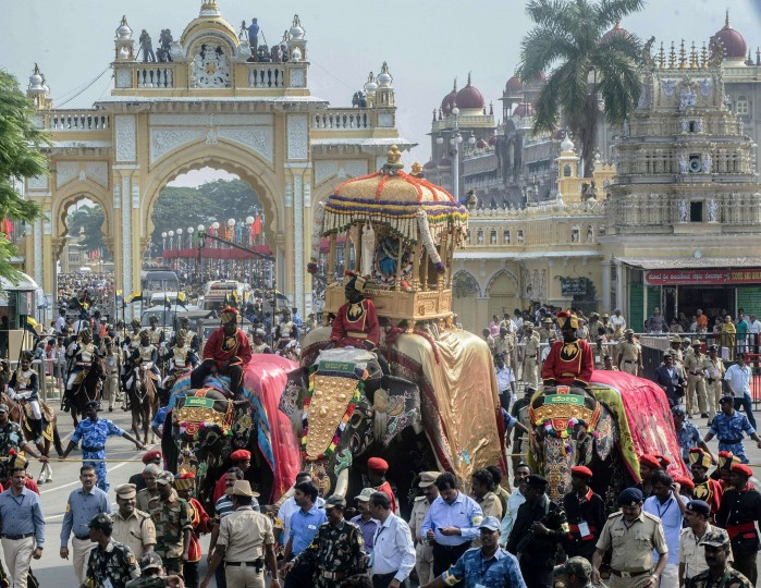 "The royal elephant of the Mysore Palace carries the Golden Howdah containing Hindu Goddess Chamundeshwari during Vijayadashami celebrations in Mysore. Vijayadashami marks the end of ""Navrathri"" the nine-night Dasara festival celebrations in the country. (Stringer/AFP-Getty Images)"