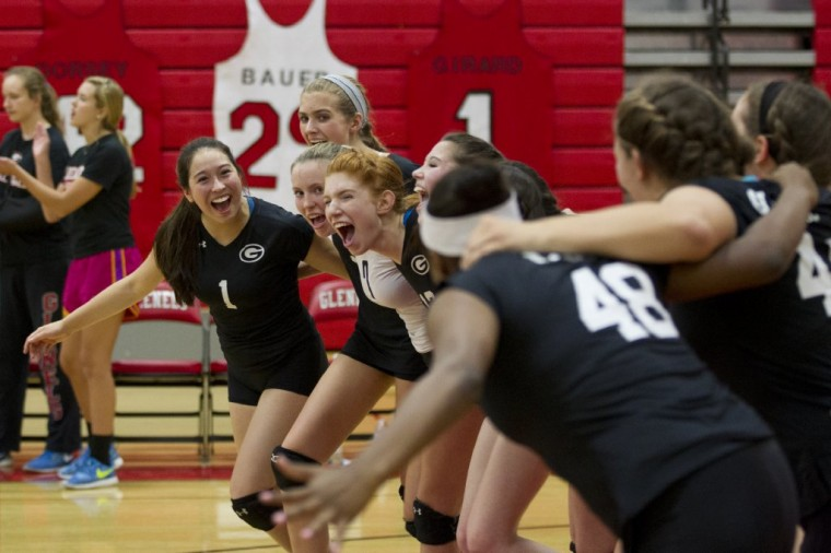 Glenelg gets together before the volleyball match against Howard at Glenelg High School Thursday, Oct. 16. (Jen Rynda/BSMG)