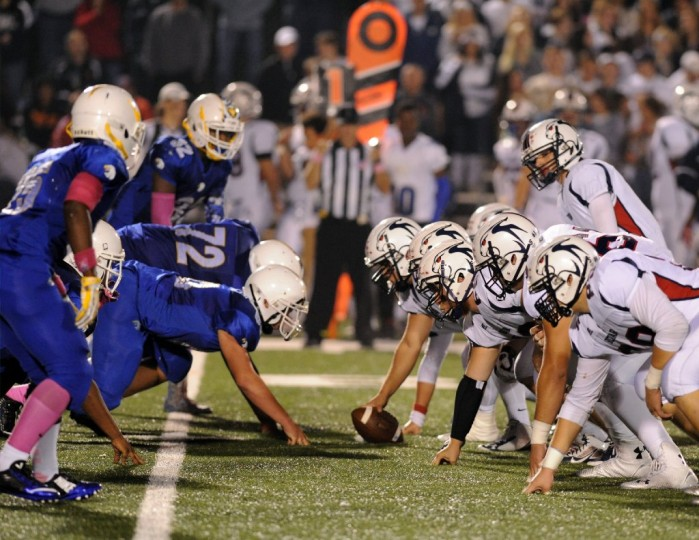 The Aberdeen defense is ready to pounce as Bel Air quarterback Daniel Webber steps up to the line during Thursday night's game at Aberdeen. (Matt Button/BSMG)