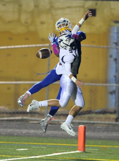 Bel Air's Matt Kunkel gets up to knock the ball from intended Aberdeen receiver Sean Davis during Thursday night's game at Aberdeen. (Matt Button/BSMG)