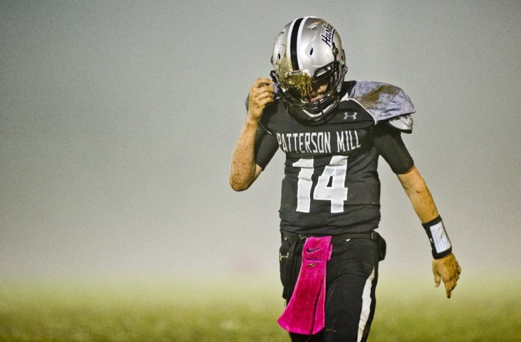 Patterson Mill's Jordan Reid comes off the field after throwing an interception during the North Harford at Patterson Mill High School football game in Bel Air. (Scott Serio/BSMG)