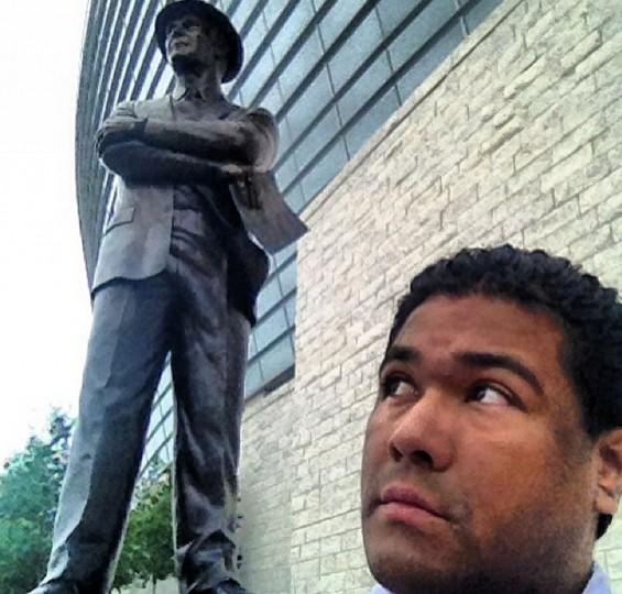 Tom Landry Statue Selfie in Arlington, Texas on June 6, 2014.
