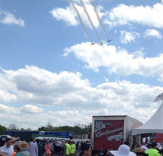 Flyover at the Preakness from the Pimlico infield on May 17, 2014.