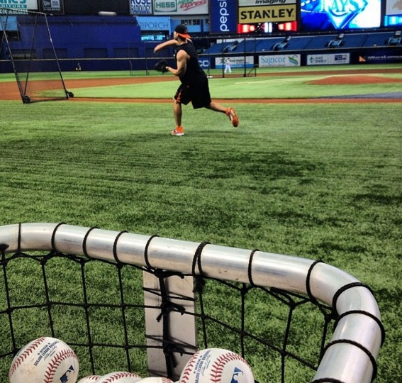 Chris Davis playing catch at the Trop before the Orioles-Rays game on May 6, 2014.