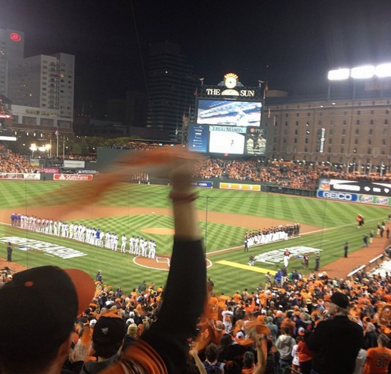 Orioles being introduced before ALCS Game 1 at Camden Yards on Oct. 10, 2014.