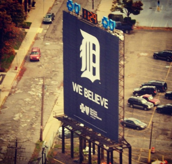 A Tigers billboard in downtown Detroit. Picture taken Oct. 4, 2014.