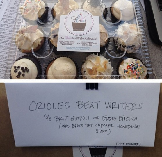 Thanks to the Villacrusis family, who delivered cupcakes to the press box before the Sept. 16, 2014 Orioles game after @masnroch refused to share his.