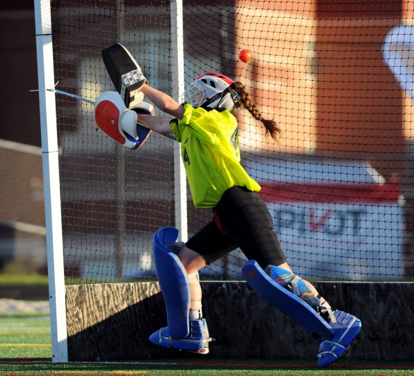 Marriotts Ridge goalie Miranda Alam lets one by at the final game shootout during a sectional final playoff field hockey game at Marriotts Ridge High School in Marriottsville on Monday, Oct. 27, 2014. (Jon Sham/BSMG)