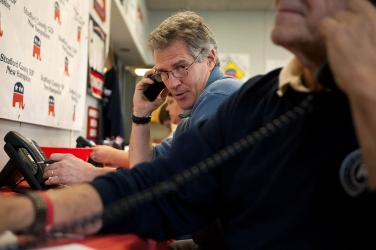 Republican Senate candidate Scott Brown makes last minute campaign phone calls at the New Hampshire GOP Victory office on November 4, 2014 in Dover, New Hampshire. Brown is running in a tight race against opponent U.S. Sen. Jeanne Shaheen (D-NH). (Kayana Szymczak/Getty Images)