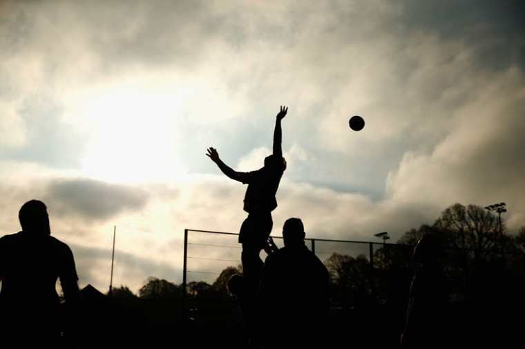 The All Blacks practice the line out during the New Zealand All Blacks training session at Sophia Gardens on November 18, 2014 in Cardiff, Wales. (Phil Walter/Getty Images)