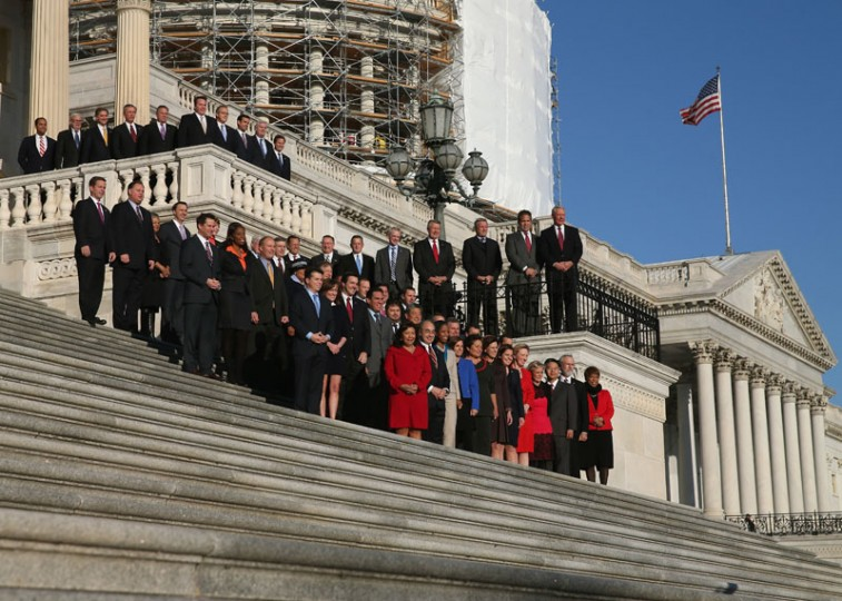 Newly elected freshman members of the upcoming 114th Congress pose for a class photo on the steps of the U.S. Capitol on November 18, 2014 in Washington, DC. . This week the new members have been undergoing orientation before taking office in January. For the first time in eight years Republicans hold the majority and control both houses of Congress. (Mark Wilson/Getty Images)