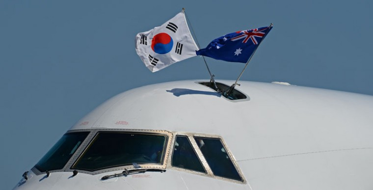 A plane carrying South Korean President Park Geun-hye arrives at Brisbane Airport for the G20 Leader's Summit on November 14, 2014. The G20 Leader's Summit being hosted by Australia in Brisbane will be held from November 15-16. (Greg Wood/AFP/Getty Images)