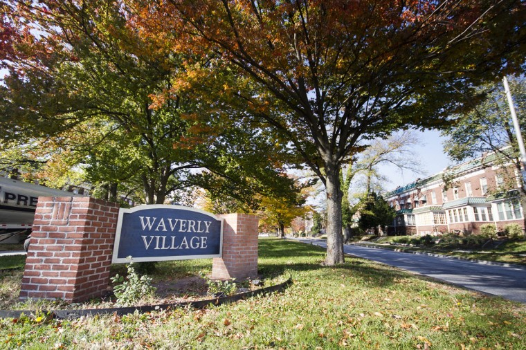 The Waverly Village sign along 33rd, between Waverly and Better Waverly. (Kalani Gordon/Baltimore Sun/Nov. 2014)
