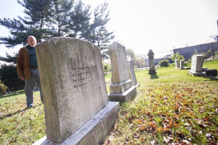 The headstone of Lizette Woodworth Reece in the cemetery adjacent to St. Johns Church in the 3000 block of Greenmount. (W. Ross Dunaway/Baltimore Sun file)