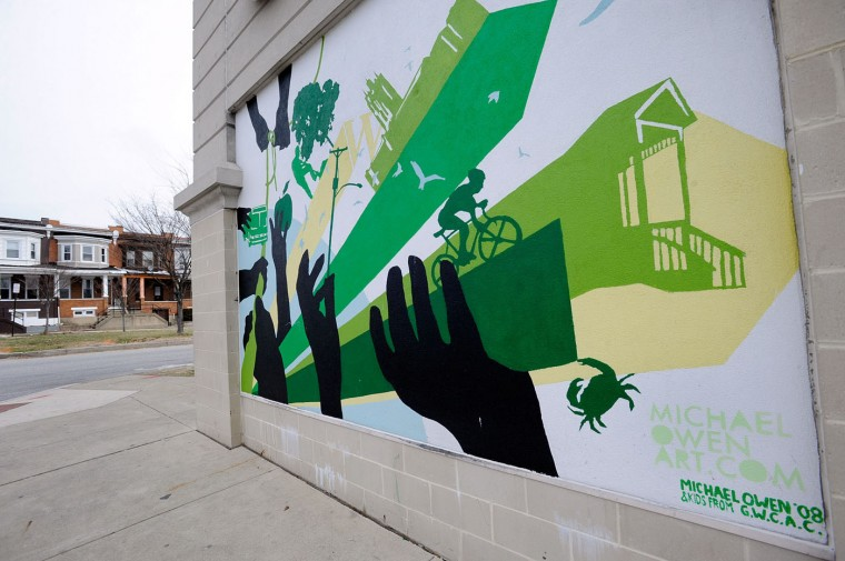 3/11/13: A mural is pictured outside the Waverly Giant grocery store Monday, March 11, 2013. Topics at Greater Homewood Community Corporation's Neighborhood Institute were to include using outdooor murals to make communities more attractive. (Photo by Steve Ruark)