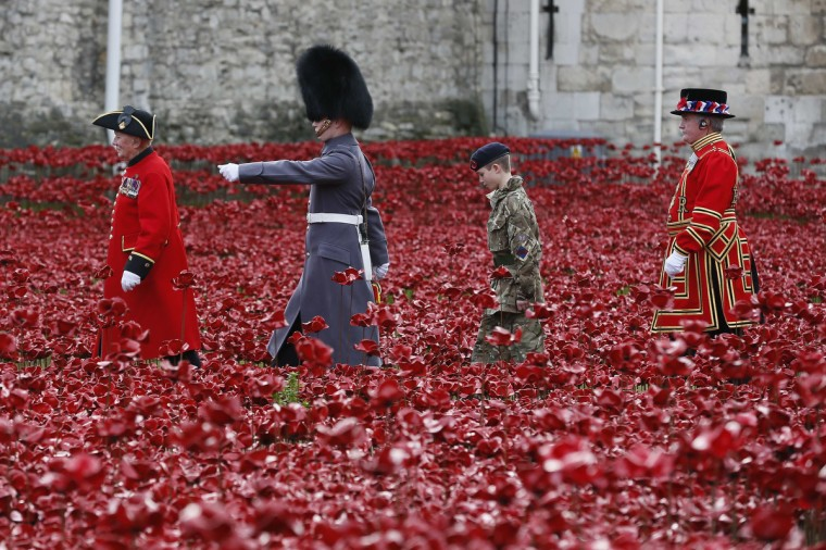 "Servicemen walk past the ceramic poppies that form part of the art installation ""Blood Swept Lands and Seas of Red"", during an Armistice Day ceremony at the Tower of London in London November 11, 2014. (Stefan Wermuth/Reuters photo)"