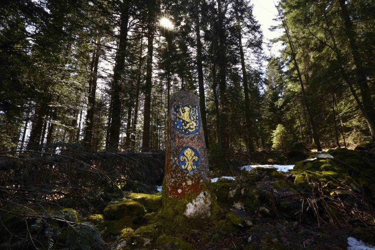 A fleur-de-lis coat of arms and the Franche Comte Lion are seen on a marker, dating from 1649, on the France (front) to Switzerland (back) border in the Marguerites Forest near Lajoux in the Vallee de Joux April 9, 2014.