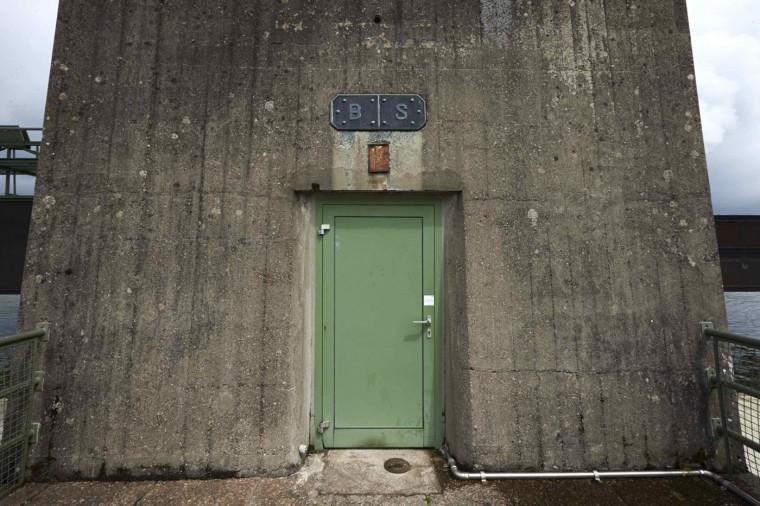 A door is seen on the RADAG (Rheinkraftwerk Albbruck-Dogern AG) power dam on the Rhein river between Switzerland (R) and Germany in Leibstadt May 1, 2014.