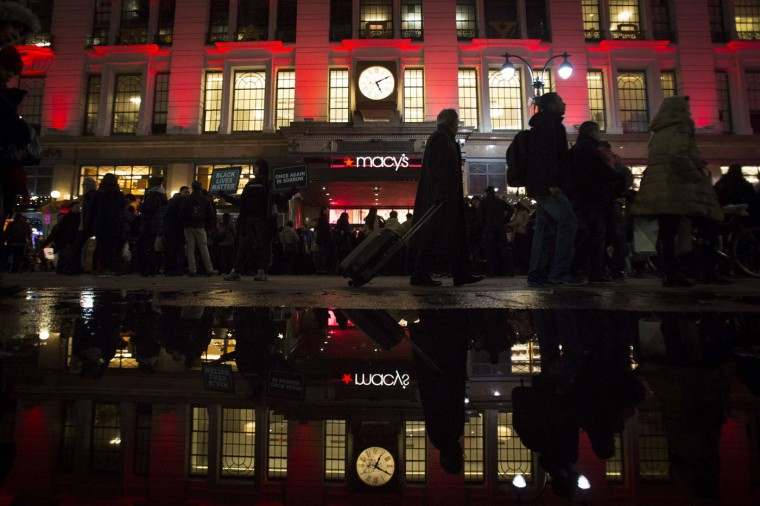 Shoppers wait to enter Macy's to kick off Black Friday sales in New York November 27, 2014. Select stores opened Thursday to kick off the Black Friday sales, with the Friday after Thanksgiving typically being the busiest shopping day of the year in the U.S. (Andrew Kelly/Reuters)
