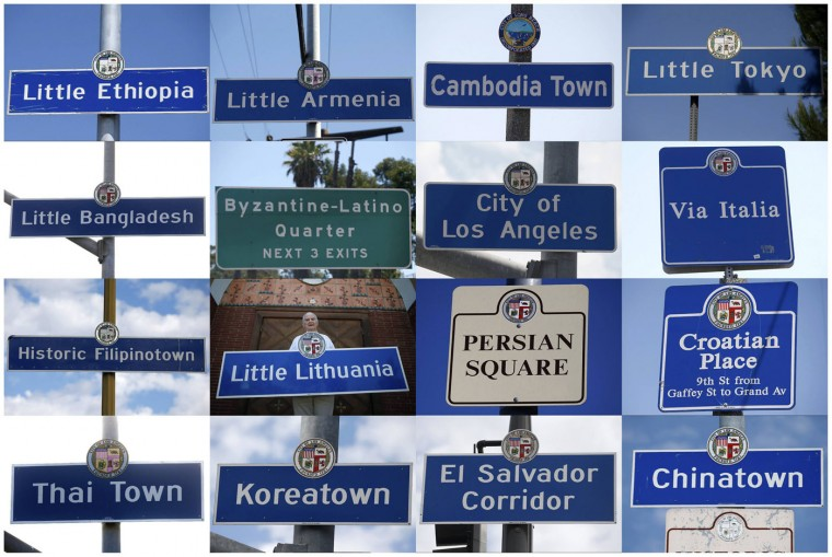 A combination photograph shows Los Angeles area street signs which mark the boundaries of neighborhoods in Los Angeles, Long Beach and San Pedro, California in pictures taken between August 7 to 19, 2014. The Little Lithuania sign has been approved by the city, but not put up yet, and is held by Joseph Pupius, 79, who is from Lithuania.