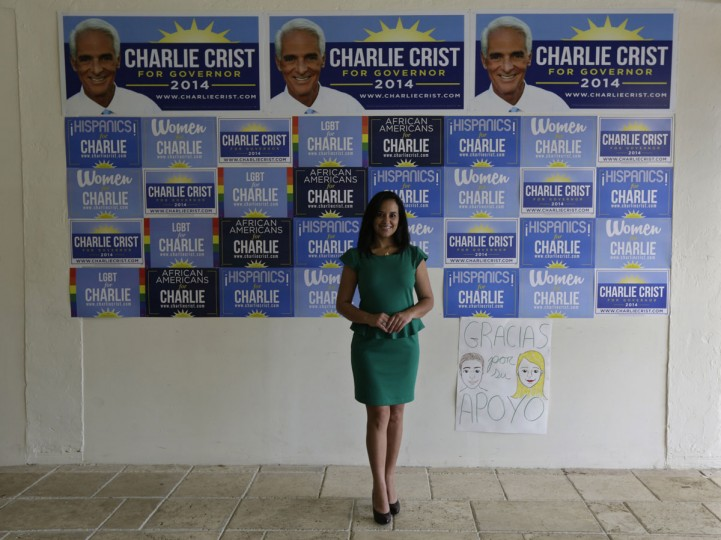Former Cuban rafter Gricel Gonzalez, 37, poses at the campaign headquarters of Democratic candidate for the governor of Florida, Charlie Crist, where she works as a communications director in Miami on September 14, 2014. Gonzalez was 16 when she boarded a boat in Cuba with her sister, mother and stepfather to try and reach the Guantanamo Base during the 1994 Cuban Exodus. She said that at night they heard a man crying for help for a pregnant woman, but they never saw them. (REUTERS/Enrique de la Osa)