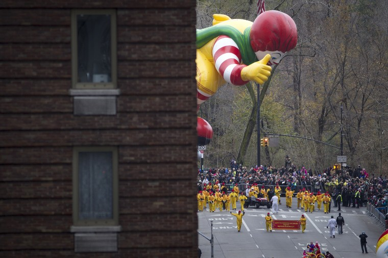 The Ronald Mcdonald float makes its way down 6th Ave during the Macy's Thanksgiving Day Parade in New York. (REUTERS/Carlo Allegri)