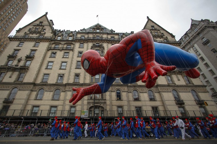 The Spiderman balloon floats down Central Park West during the 88th Macy's Thanksgiving Day Parade in New York. (REUTERS/Eduardo Munoz)