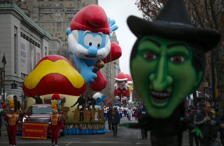 Balloons float down Central Park West during the 88th Macy's Thanksgiving Day Parade in New York. (REUTERS/Eduardo Munoz)