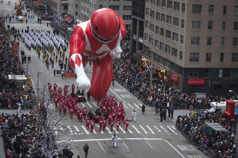 The Red Power Ranger float makes its way down 6th Ave during the Macy's Thanksgiving Day Parade in New York. (REUTERS/Carlo Allegri)