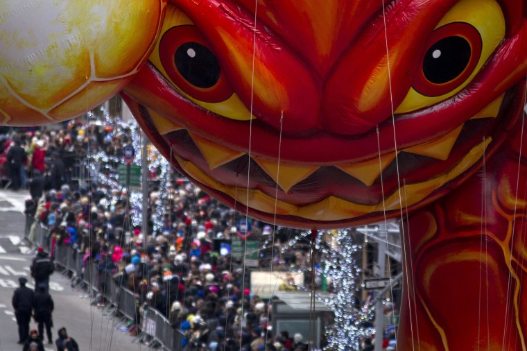 A float makes its way down 6th Ave during the Macy's Thanksgiving Day Parade, in New York. (REUTERS/Carlo Allegri)