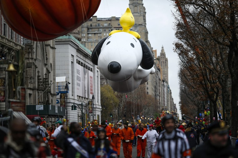 The Snoopy balloon floats down Central Park West during the 88th Macy's Thanksgiving Day Parade in New York. (REUTERS/Eduardo Munoz)