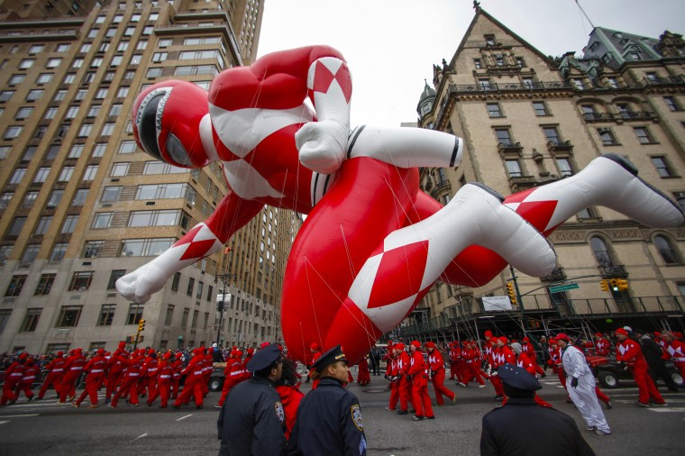 The red Mighty Morphin Power Ranger floats down Central Park West during the 88th Macy's Thanksgiving Day Parade in New York. (REUTERS/Eduardo Munoz)