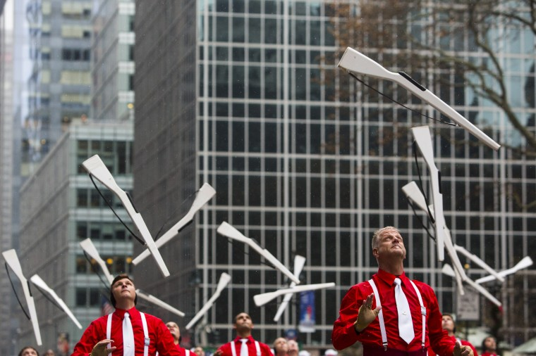 Members of the Madison Scouts perform during the 88th Annual Macy's Thanksgiving Day Parade in New York. (REUTERS/Andrew Kelly)