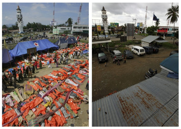 A combination photo shows (left) the bodies of victims in the Indonesian city of Banda Aceh the day after the December 27, 2004 tsunami hit, and the same view of Banda Aceh December 5, 2009. Though confusion sometimes reigned among many aid groups with varying agendas, they built more than 140,000 homes, 1,700 schools, 996 government buildings, 36 airports and seaports, 3,800 houses of worship, 363 bridges and 3,700 km of road, according to Indonesian reconstruction agency (BRR) data. Pictures taken December 27, 2004 and December 5, 2009. (REUTERS/Beawiharta)