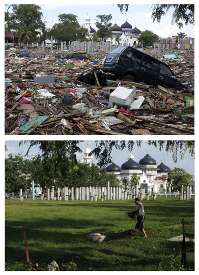 A combination photo shows (top) a view of the damage near Baiturrahman mosque December 27, 2004, the day after a tsunami hit the Indonesian city of Banda Aceh, and (bottom) an Acehnese man collecting grass for his goat in the same area, December 4, 2009. Though confusion sometimes reigned among many aid groups with varying agendas, they built more than 140,000 homes, 1,700 schools, 996 government buildings, 36 airports and seaports, 3,800 houses of worship, 363 bridges and 3,700 km of road, according to Indonesian reconstruction agency (BRR) data. Pictures taken December 27, 2004 and December 4, 2009. (REUTERS/Beawiharta)