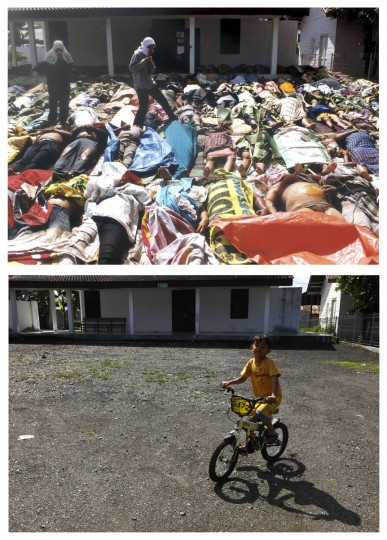 A combination photo shows (top) Acehnese women searching for their missing relatives among tsunami victims in Banda Aceh in Indonesia's Aceh province on December 28, 2004, and a child riding his bicycle in front of a morgue in the same area, December 6, 2009. Though confusion sometimes reigned among many aid groups with varying agendas, they built more than 140,000 homes, 1,700 schools, 996 government buildings, 36 airports and seaports, 3,800 houses of worship, 363 bridges and 3,700 km of road, according to Indonesian reconstruction agency (BRR) data. Pictures taken December 28, 2004 and December 6, 2009. (REUTERS/Handout/Beawiharta)
