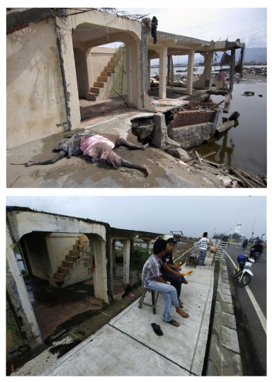 A combination photo shows (top) the body of a tsunami victim beside a damaged building in Banda Aceh, January 5, 2005, and (bottom) Acehnese men sitting and eating corn in the same area, December 4, 2009. Though confusion sometimes reigned among many aid groups with varying agendas, they built more than 140,000 homes, 1,700 schools, 996 government buildings, 36 airports and seaports, 3,800 houses of worship, 363 bridges and 3,700 km of road, according to Indonesian reconstruction agency (BRR) data. Pictures taken January 5, 2005 and December 4, 2009. (REUTERS/Stringer/Beawiharta)
