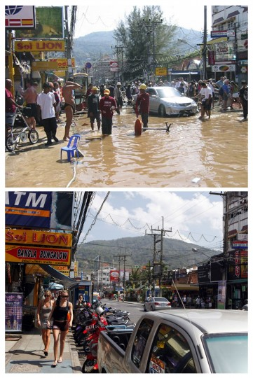 In this combo picture, residents and tourists are seen standing in ankle-deep water in tsunami-hit entertainment district of Patong in Phuket (top) December 26, 2004 and the same street nearly five years after December 10, 2009. As the world prepares to mark the fifth anniversary of the tsunami that killed 226,000 people in 13 Asian and African countries, scars have yet to heal even after homes have been rebuilt, tourists have returned and foreign aid has ended. (REUTERS/Stringer (top) and Damir Sagolj)